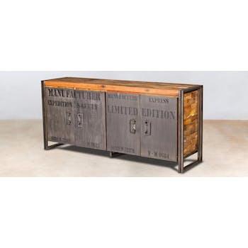 Buffet bois recyclé 4 portes 180x80 CARAVELLE