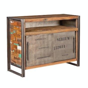 Buffet bois recyclé 2 portes coulissantes 1 niche 120x90 CARAVELLE