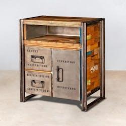 Confiturier bois recyclé 2 tiroirs 1 porte 78x90 CARAVELLE