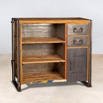 Meuble bar bois recyclé 2 tiroirs 1 porte 120x110 CARAVELLE