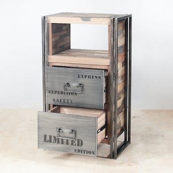 Meuble de rangement bois recyclé 2 tiroirs 60x107 CARAVELLE