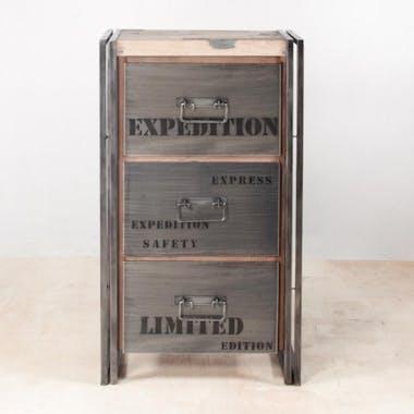 Meuble de rangement bois recyclé 3 tiroirs 60x107 CARAVELLE