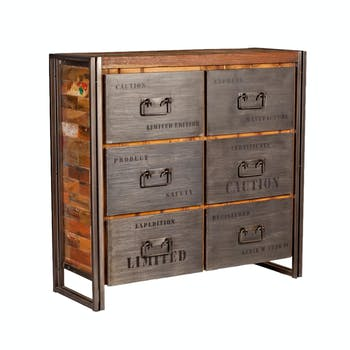 Commode bois recyclé 6 tiroirs 112x107 CARAVELLE