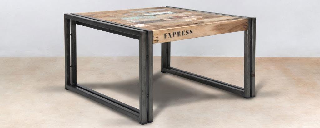 Table basse carrée industrielle petit modèle CARAVELLE