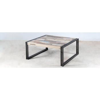 Table basse carrée bois recyclé 80x80 CARAVELLE