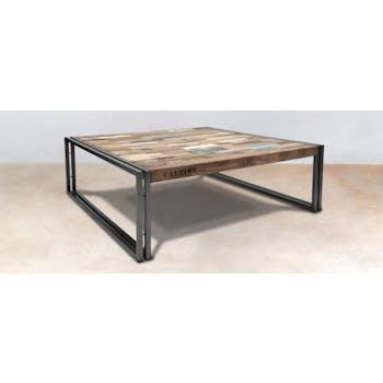 Table basse carrée industrielle grand modèle CARAVELLE