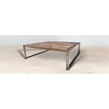 Table basse carrée bois recyclé 120X120 CARAVELLE