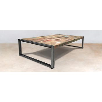 Table basse rectangle bois recyclé 140x80 CARAVELLE