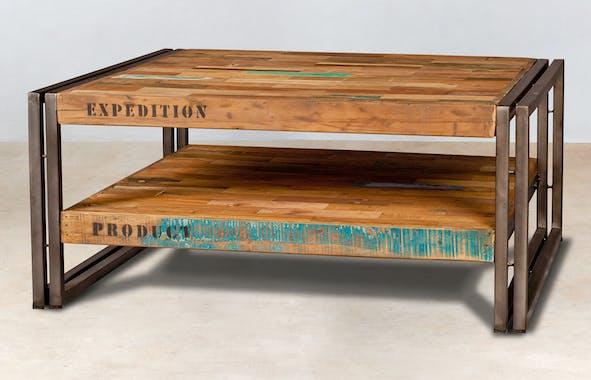 Table basse carrée bois recyclé double plateaux 80x80 CARAVELLE