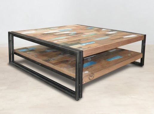Table basse carrée bois recyclé double plateaux 100x100 CARAVELLE