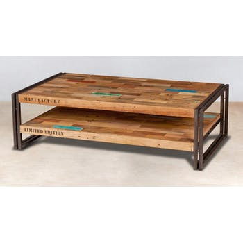Table basse rectangle bois recyclé double plateaux 120x70 CARAVELLE