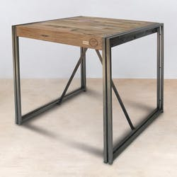 Table mange debout carrée bois recyclé 80x80 CARAVELLE