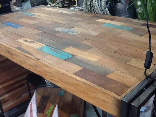 Table mange debout carrée bois recyclé 100x100 CARAVELLE