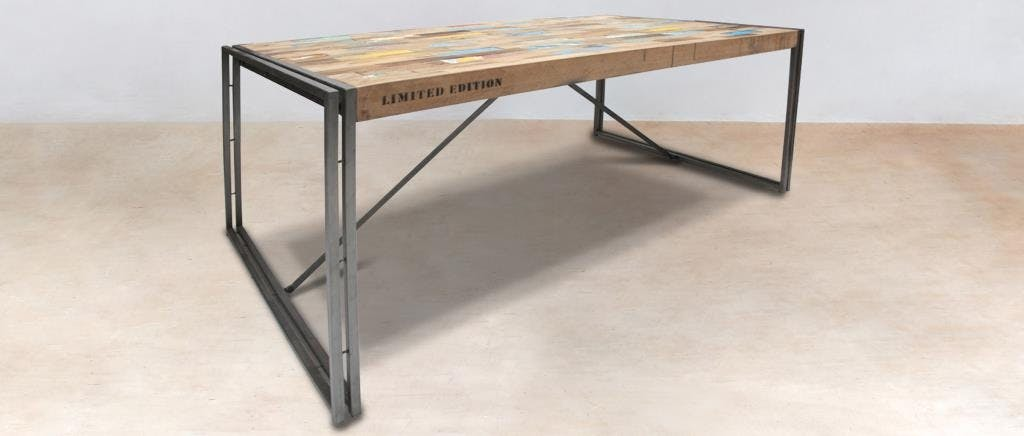 Table à manger rectangle bois recyclé 175x100 CARAVELLE