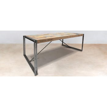 Table à manger rectangle bois recyclé 200x100 CARAVELLE