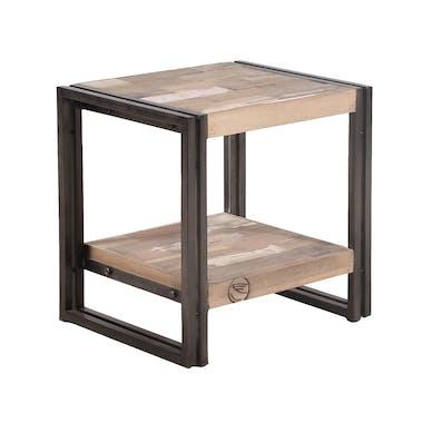 Table d'appoint double plateau bois recyclé 50x40 CARAVELLE