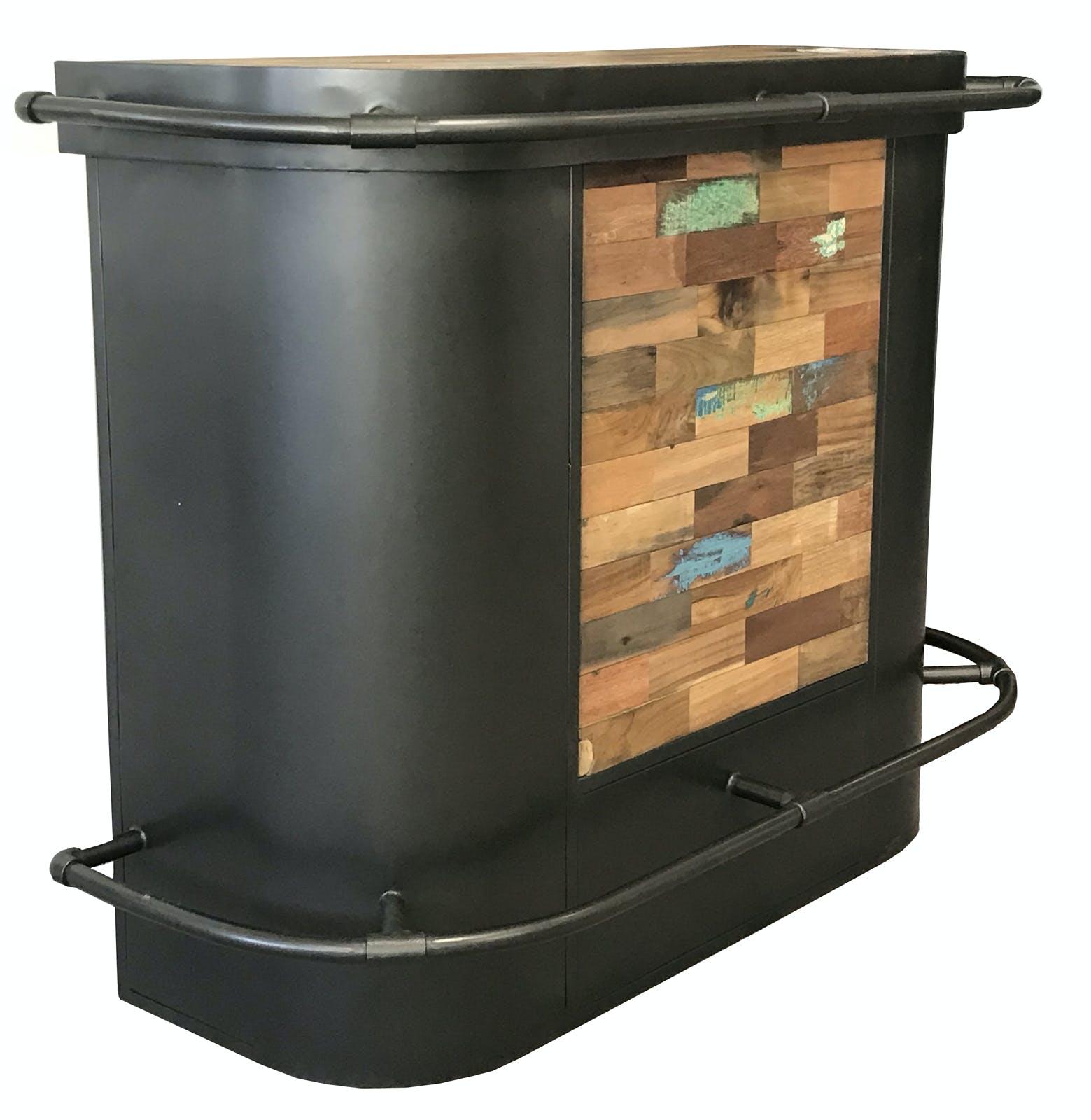 Meuble bar bois recyclé central 144x60 CARAVELLE