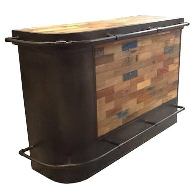 Meuble bar bois recyclé arrondi à gauche 164x60 CARAVELLE