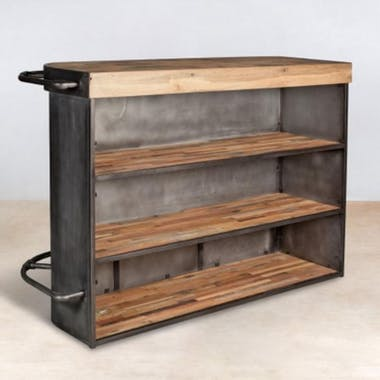 Meuble bar bois recyclé arrondi à droite 164x60 CARAVELLE