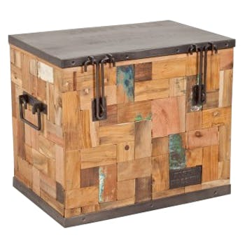 Coffre de rangment bois recyclé 50x35 CARAVELLE