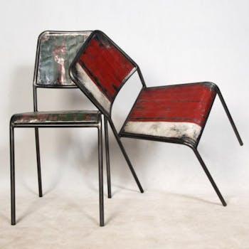 Chaise industrielle métal recyclé CARAVELLE