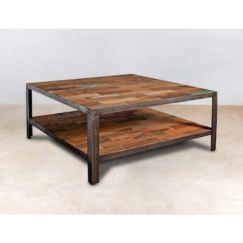 Table basse carrée double plateaux bois recyclé 80x80x35cm CARAVELLE