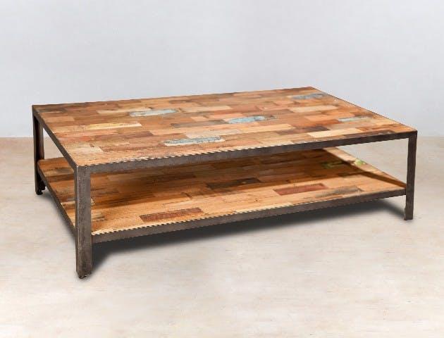 Table basse rectangulaire double plateaux bois recyclée 120x70x35cm CARAVELLE