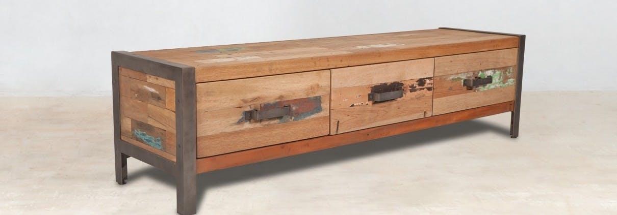 Meuble TV bois recyclé 3 tiroirs CARAVELLE