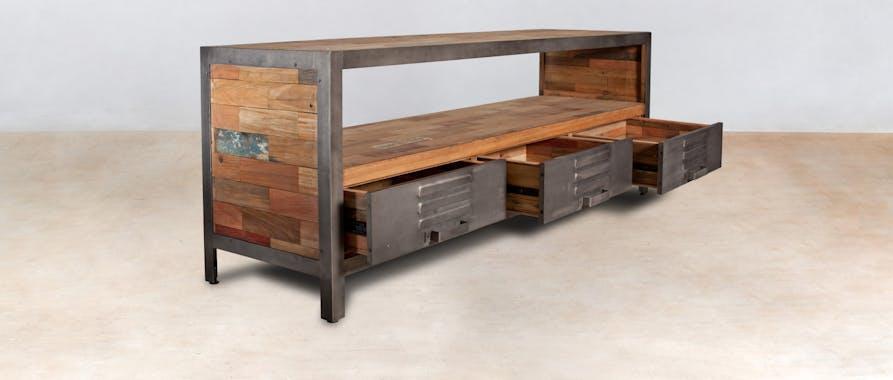 Meuble TV métal bois recyclé 3 tiroirs CARAVELLE