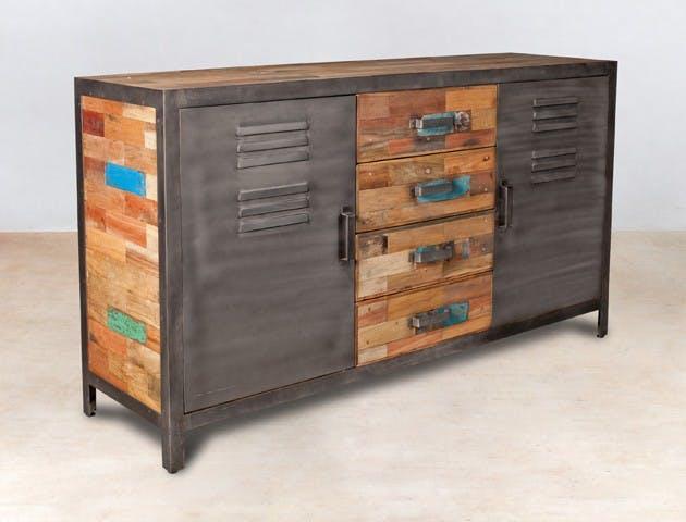 Buffet bois recyclé 4 tiroirs bois recyclé 2 portes métalliques 160x45x90cm CARAVELLE