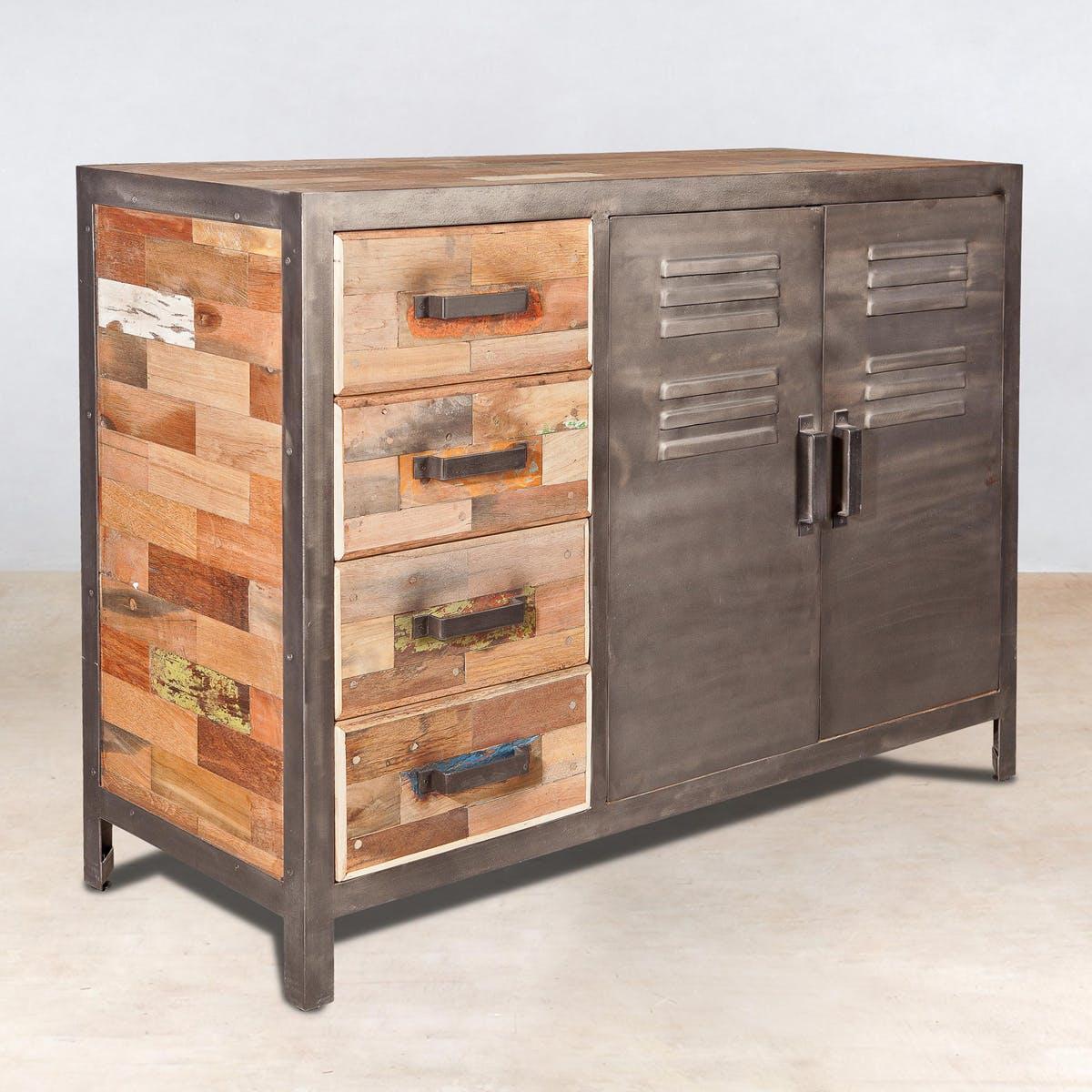 Buffet bois recyclé 4 tiroirs bois recyclé 2 portes métalliques 120x45x90cm CARAVELLE