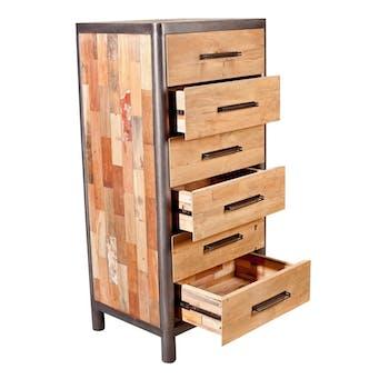 Commode Chiffonnier bois recyclé 6 tiroirs 62x49x129cm CARAVELLE