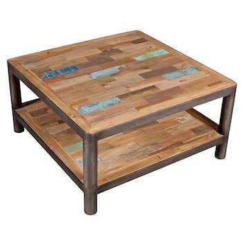 Table basse carrée bois recyclé double plateaux 80x80x40cm CARAVELLE