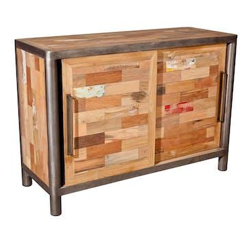 Buffet bois recyclé 2 portes coulissantes 116x50x81cm CARAVELLE