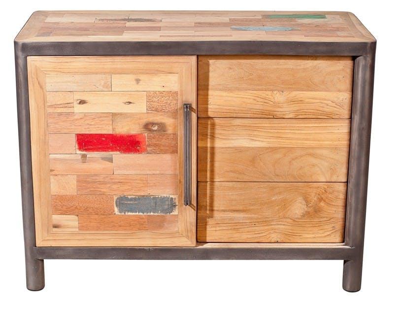 Buffet bois recyclé 1 porte coulissante 3 tiroirs 100x48x75cm CARAVELLE