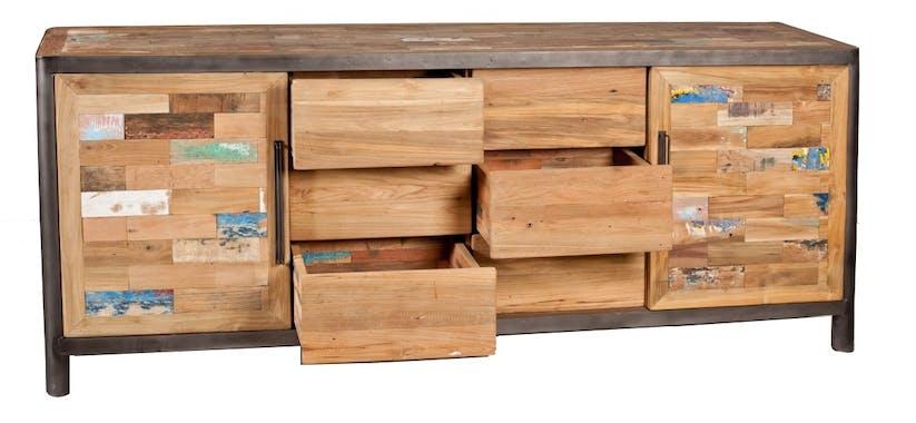 Buffet long bois recyclé CARAVELLE