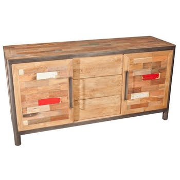 Buffet bois recyclé 2 portes coulissantes 3 tiroirs 160x50x81cm CARAVELLE