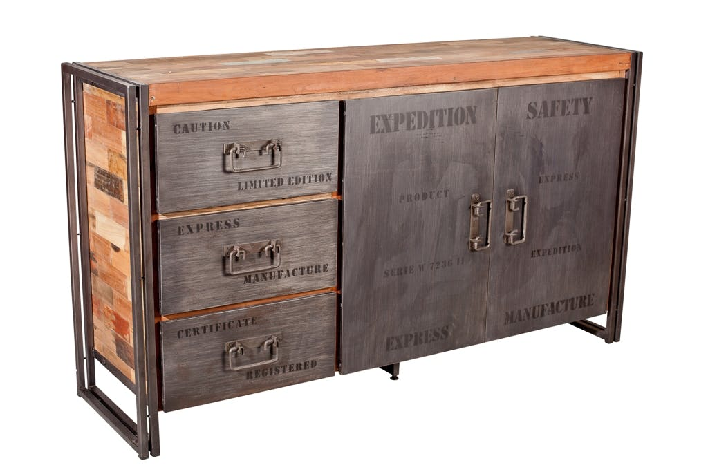 Buffet bois recyclé 2 portes 3 tiroirs 160x45x90cm CARAVELLE