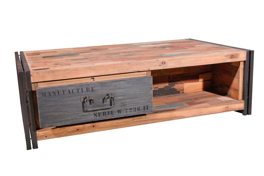 Table basse industrielle bois recyclé CARAVELLE