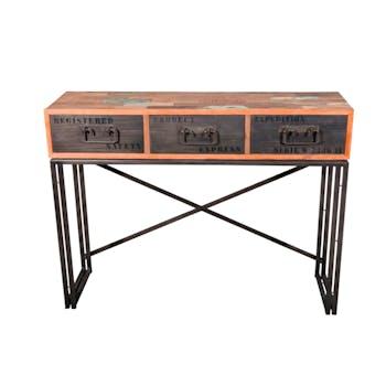 Console bois recyclé 3 tiroirs 120x35x90cm CARAVELLE