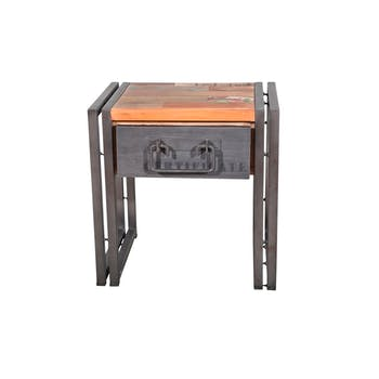 Table de chevet / Bout de canapé bois recyclé 1 tiroir 40x30x40cm CARAVELLE
