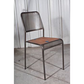 Chaise de repas métal recyclé perforée 40x48x88cm CARAVELLE