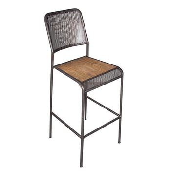 Chaise de bar métal recyclé perforée 46x49x112cm CARAVELLE