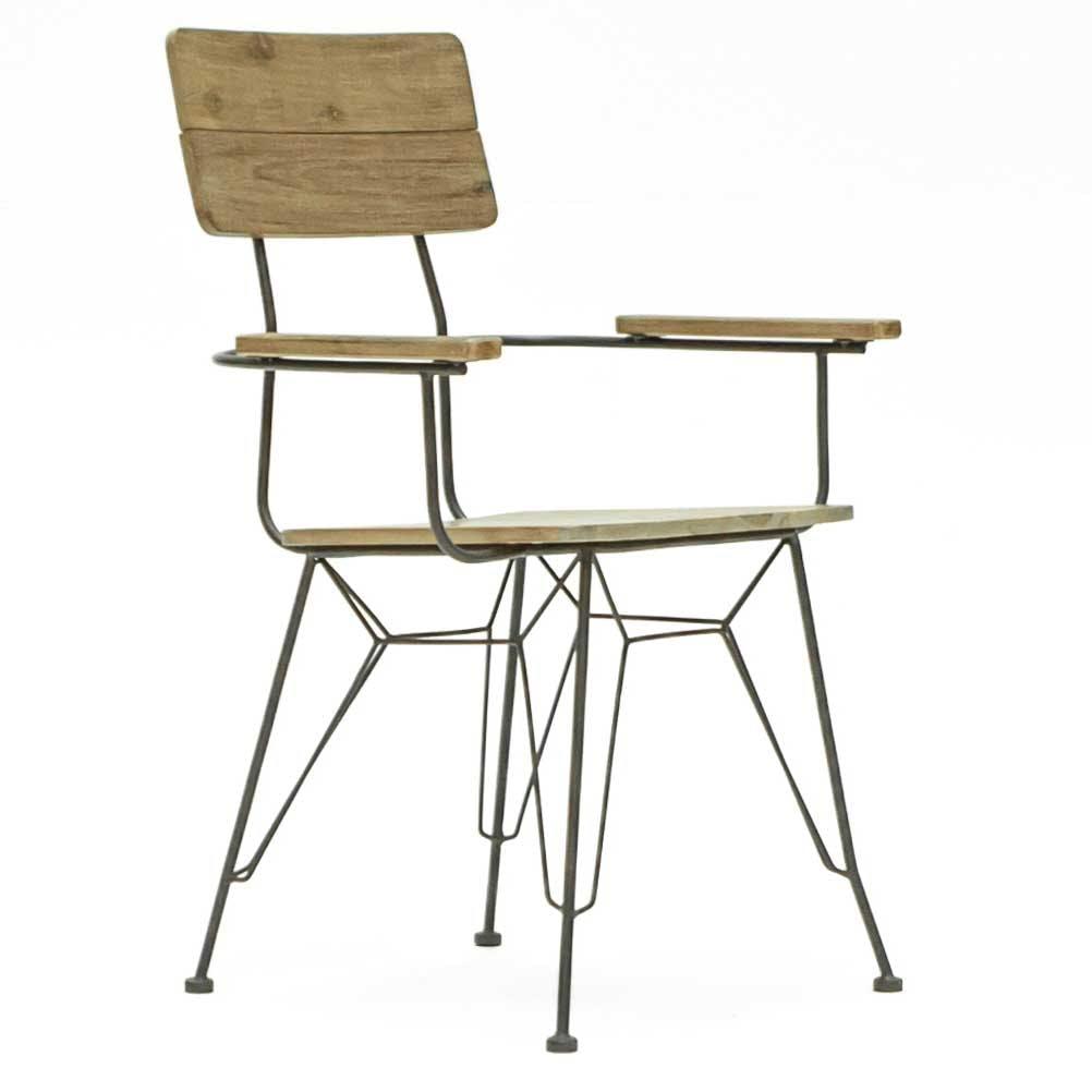 Fauteuil / Chaise avec Accoudoirs Inspiration Indus' en Acacia et Métal 60x57x89cm BROOKLYN