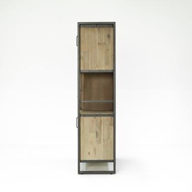 Bibliothèque Inspiration Indus' en Acacia et Métal, 2 portes métal, 2 tiroirs et 3 niches 90x35x140cm BROOKLYN