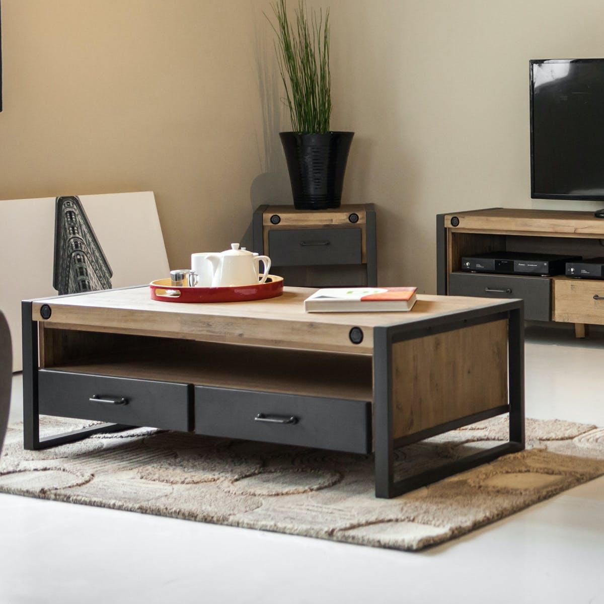 Agreable Table Basse Industrielle Bois Métal Boulons BROOKLYN