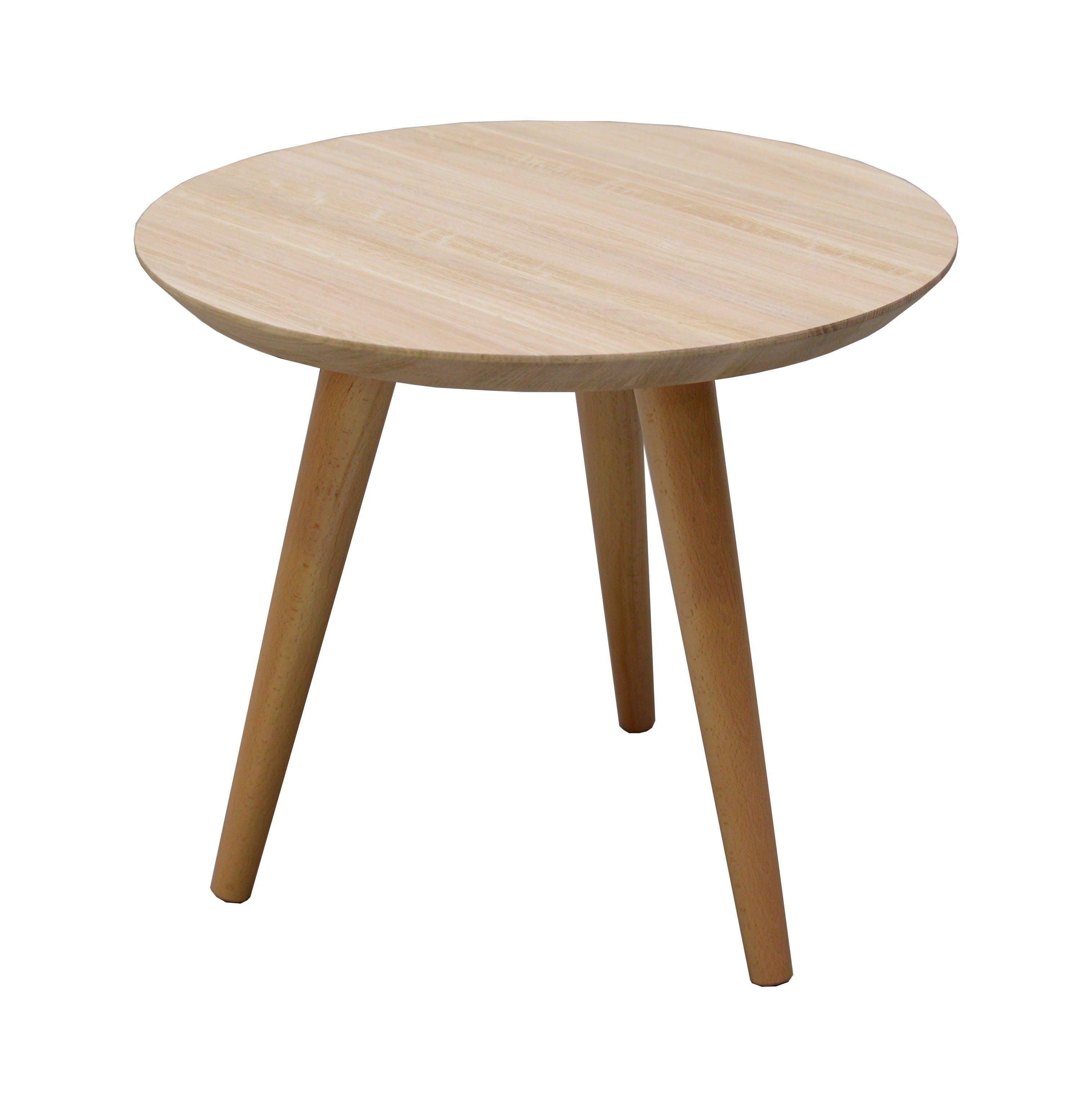 Table basse ronde nordique chêne finition naturelle D50 H45cm BALTIC