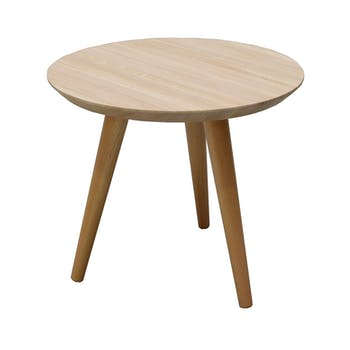 Table basse ronde nordique chêne finition naturelle D50 H45cm BALTIC