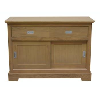 Buffet chic chêne finition amande naturelle 2 portes 2 tiroirs 131x50x94cm MANOIR