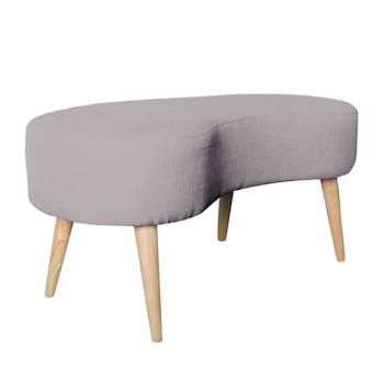 Banc / Bout de lit incurvé forme haricot en tissu gris pieds bois 48x100xH45cm OSLO 2